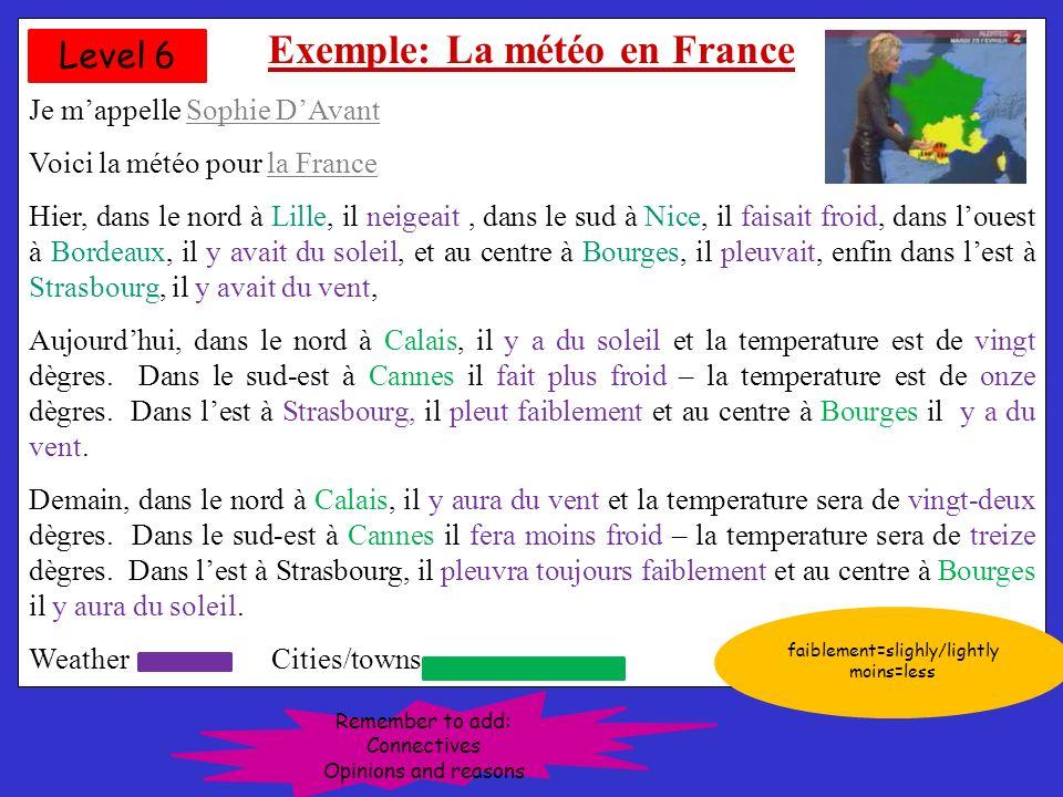 Example: La météo en France Je mappelle Sophie DAvant Voici la météo pour la France- Hier, dans le nord à Lille, il neigeait, dans le sud à Nice, il faisait froid, dans louest à Bordeaux, il y avait du soleil, et au centre à Bourges, il pleuvait, enfin dans lest à Strasbourg, il y avait du vent, Cétait fantastique.