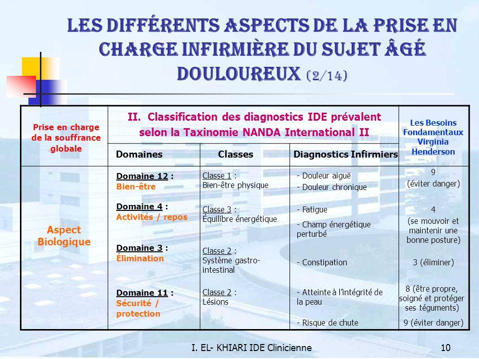 I. EL- KHIARI IDE Clinicienne10 Les différents aspects de la prise en charge infirmière du sujet âgé douloureux (2/14) Prise en charge de la souffranc