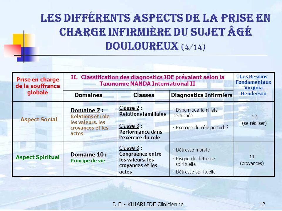 I. EL- KHIARI IDE Clinicienne12 Les différents aspects de la prise en charge infirmière du sujet âgé douloureux (4/14) Prise en charge de la souffranc