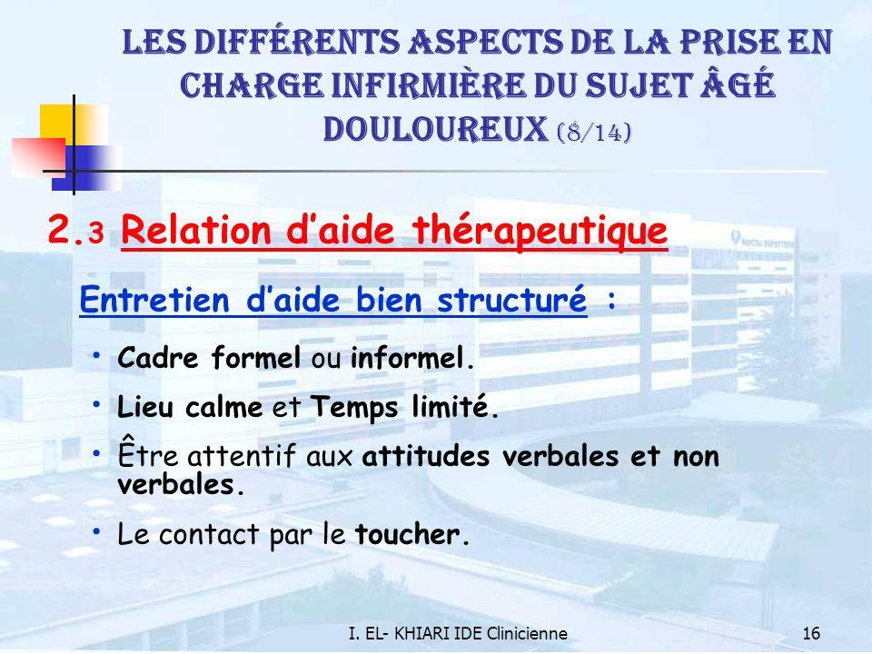 I. EL- KHIARI IDE Clinicienne16 Les différents aspects de la prise en charge infirmière du sujet âgé douloureux (8/14) 2. 3 Relation daide thérapeutiq