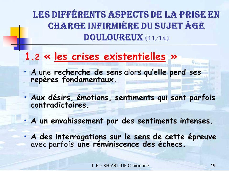 I. EL- KHIARI IDE Clinicienne19 Les différents aspects de la prise en charge infirmière du sujet âgé douloureux (11/14) 1. 2 « les crises existentiell