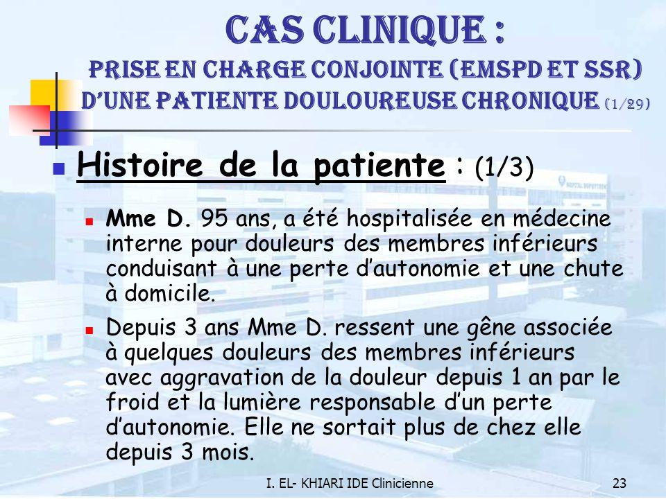 I. EL- KHIARI IDE Clinicienne23 Cas Clinique : Prise en charge conjointe (EMSPD et SSR) dune patiente douloureuse chronique (1/29) Histoire de la pati