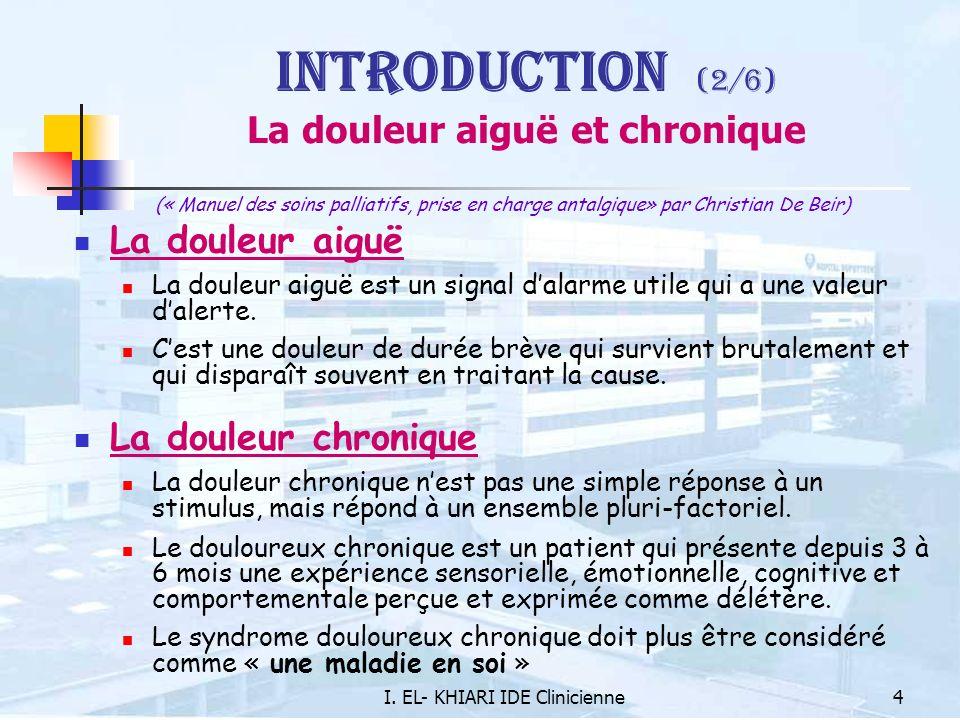I. EL- KHIARI IDE Clinicienne4 Introduction (2/6) La douleur aiguë et chronique (« Manuel des soins palliatifs, prise en charge antalgique» par Christ