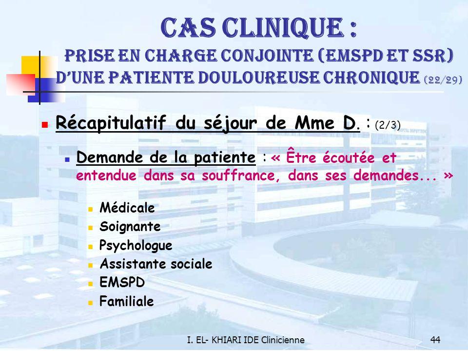 I. EL- KHIARI IDE Clinicienne44 Cas Clinique : Prise en charge conjointe (EMSPD et SSR) dune patiente douloureuse chronique (22/29) Récapitulatif du s