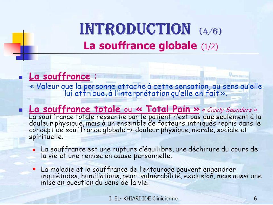 I. EL- KHIARI IDE Clinicienne6 Introduction (4/6) La souffrance globale (1/2) La souffrance : « Valeur que la personne attache à cette sensation, au s