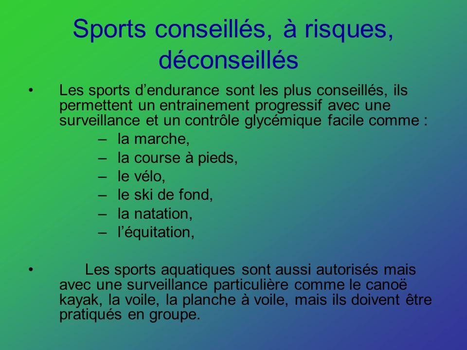Sports conseillés, à risques, déconseillés Les sports dendurance sont les plus conseillés, ils permettent un entrainement progressif avec une surveill