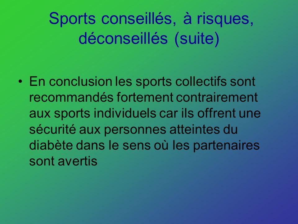 Sports conseillés, à risques, déconseillés (suite) En conclusion les sports collectifs sont recommandés fortement contrairement aux sports individuels