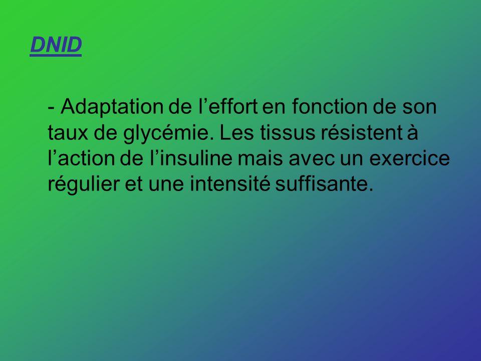 DNID - Adaptation de leffort en fonction de son taux de glycémie. Les tissus résistent à laction de linsuline mais avec un exercice régulier et une in