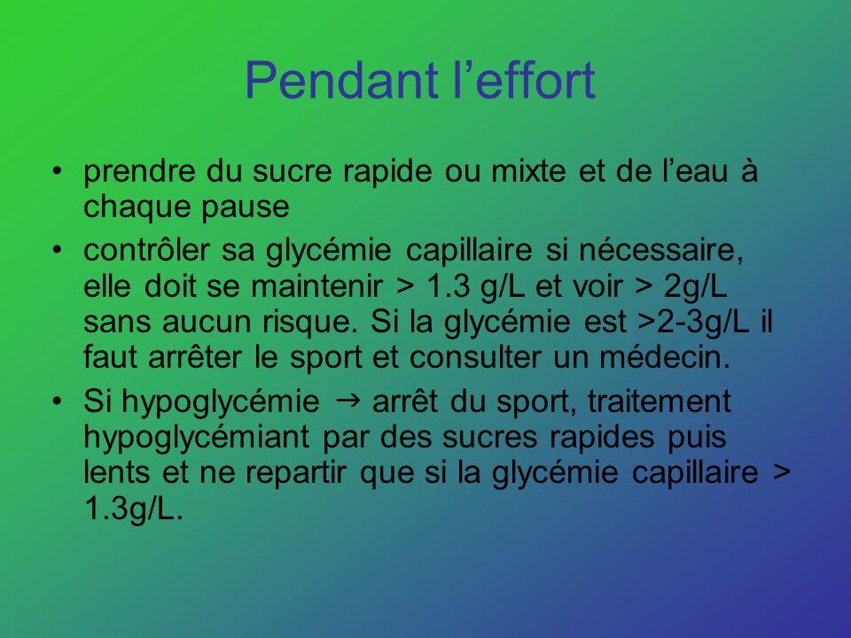 Pendant leffort prendre du sucre rapide ou mixte et de leau à chaque pause contrôler sa glycémie capillaire si nécessaire, elle doit se maintenir > 1.