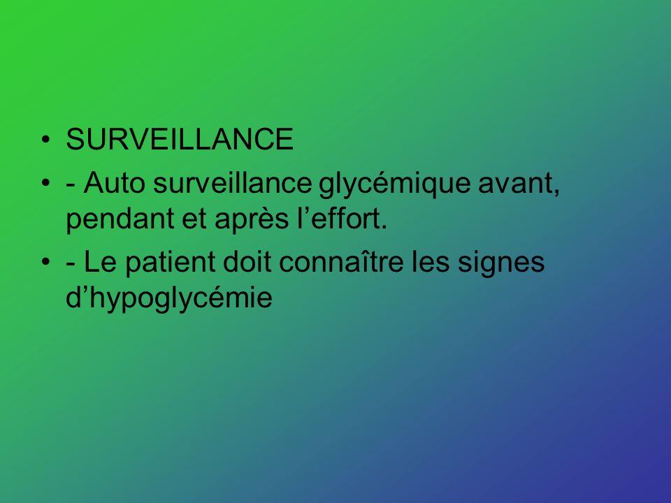 SURVEILLANCE - Auto surveillance glycémique avant, pendant et après leffort. - Le patient doit connaître les signes dhypoglycémie