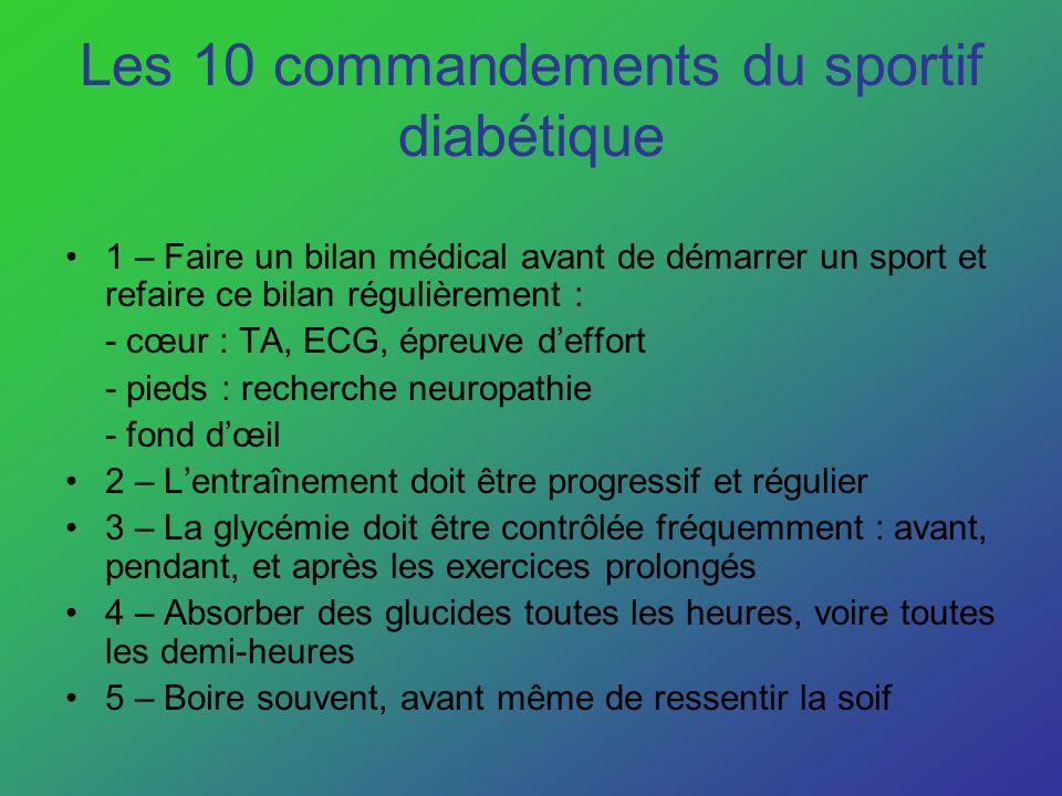 Les 10 commandements du sportif diabétique 1 – Faire un bilan médical avant de démarrer un sport et refaire ce bilan régulièrement : - cœur : TA, ECG,