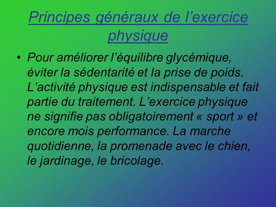 Principes généraux de lexercice physique Pour améliorer léquilibre glycémique, éviter la sédentarité et la prise de poids. Lactivité physique est indi