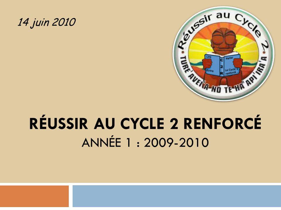 RÉUSSIR AU CYCLE 2 RENFORCÉ ANNÉE 1 : 2009-2010 14 juin 2010