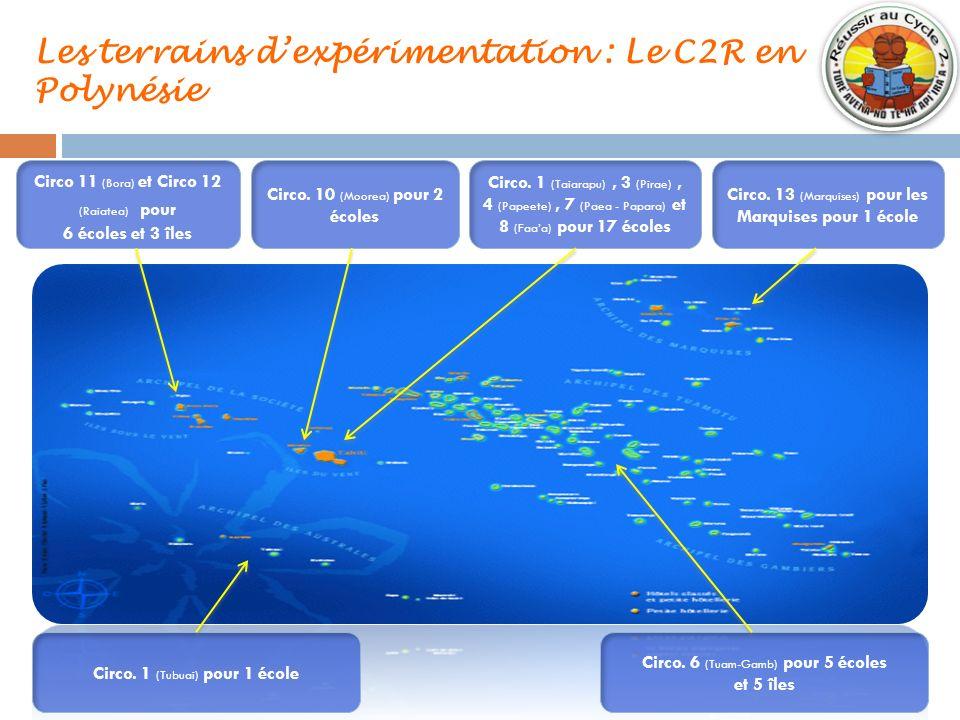 Les terrains dexpérimentation : Le C2R en Polynésie Circo. 10 (Moorea) pour 2 écoles Circo. 1 (Taiarapu), 3 (Pirae), 4 (Papeete), 7 (Paea - Papara) et