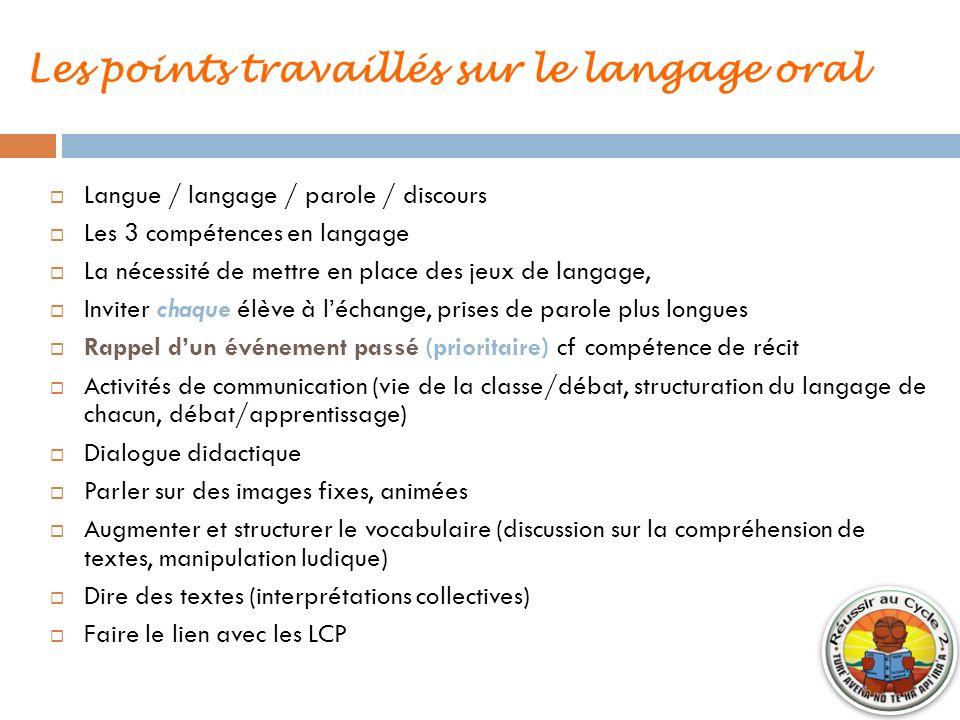 Les points travaillés sur le langage oral Langue / langage / parole / discours Les 3 compétences en langage La nécessité de mettre en place des jeux d