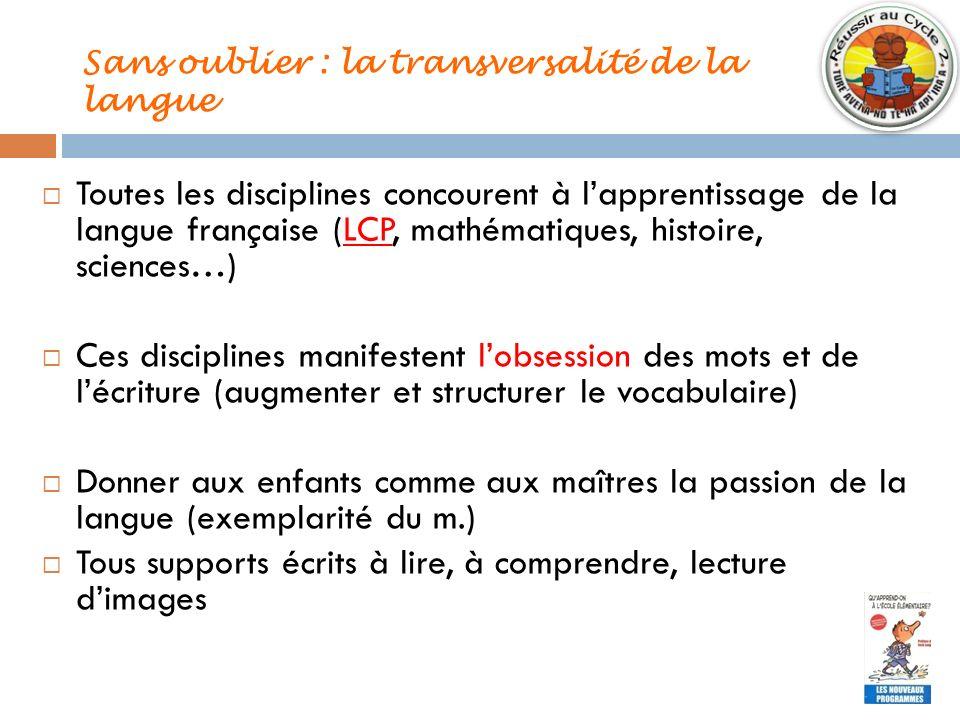 Sans oublier : la transversalité de la langue Toutes les disciplines concourent à lapprentissage de la langue française (LCP, mathématiques, histoire,