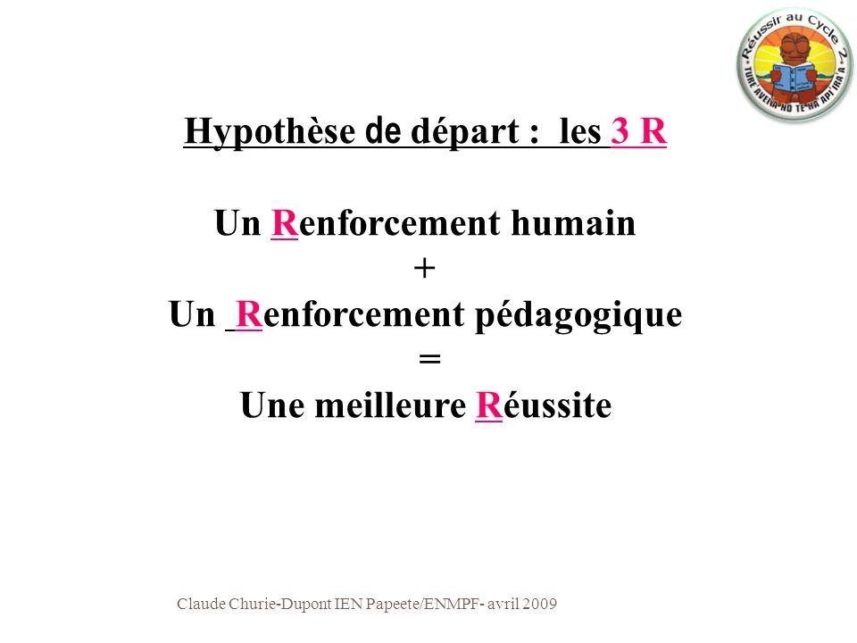 Hypothèse de départ : les 3 R Un Renforcement humain + Un Renforcement pédagogique = Une meilleure Réussite Claude Churie-Dupont IEN Papeete/ENMPF- av