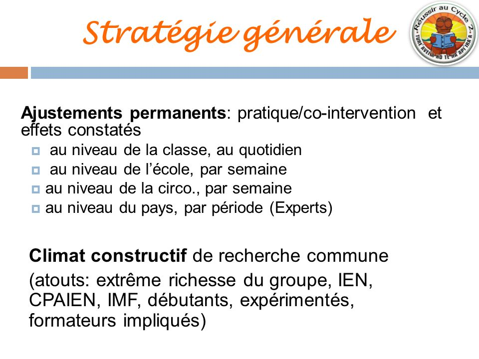 Stratégie générale Ajustements permanents: pratique/co-intervention et effets constatés au niveau de la classe, au quotidien au niveau de lécole, par