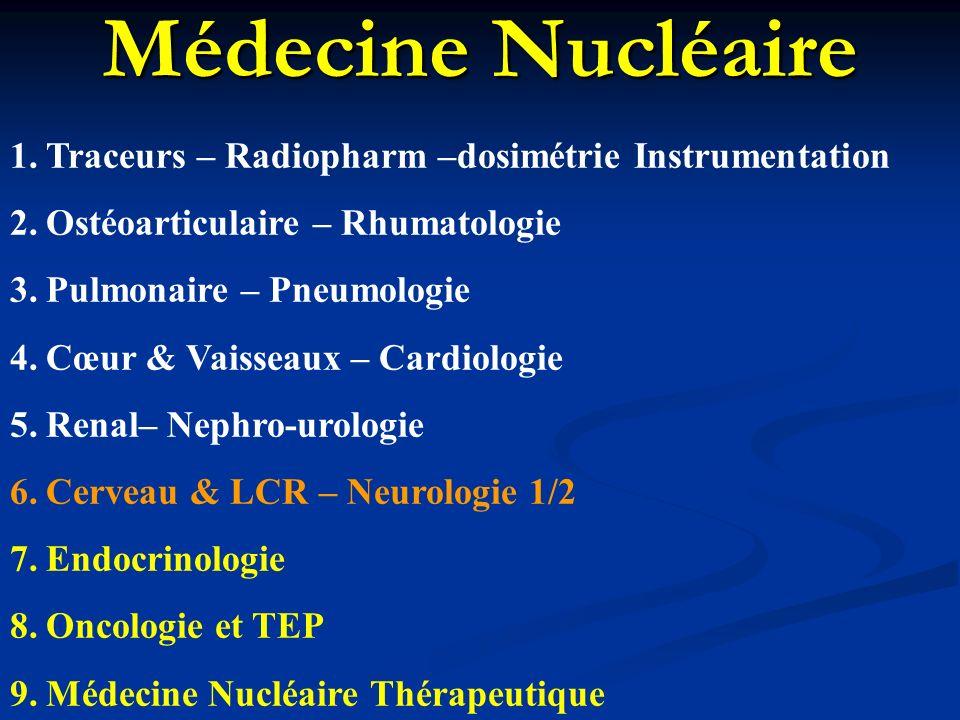 Médecine Nucléaire 1.Traceurs – Radiopharm –dosimétrie Instrumentation 2.Ostéoarticulaire – Rhumatologie 3.Pulmonaire – Pneumologie 4.Cœur & Vaisseaux