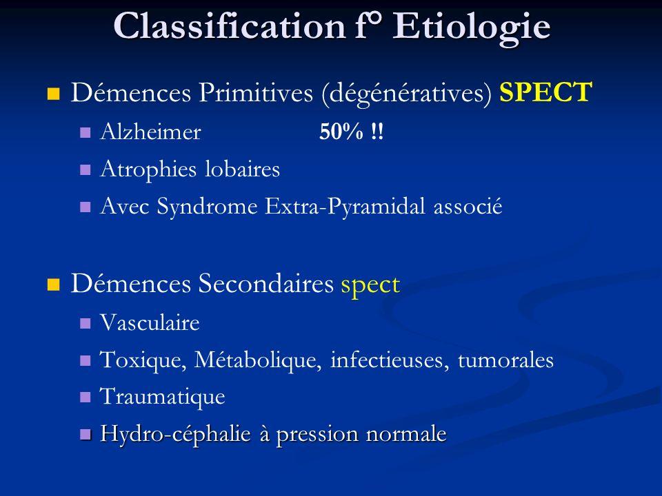 Classification f° Etiologie Démences Primitives (dégénératives) SPECT Alzheimer 50% !! Atrophies lobaires Avec Syndrome Extra-Pyramidal associé Démenc
