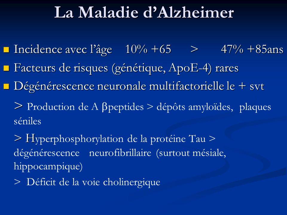 La Maladie dAlzheimer Incidence avec lâge 10% +65 > 47% +85ans Incidence avec lâge 10% +65 > 47% +85ans Facteurs de risques (génétique, ApoE-4) rares