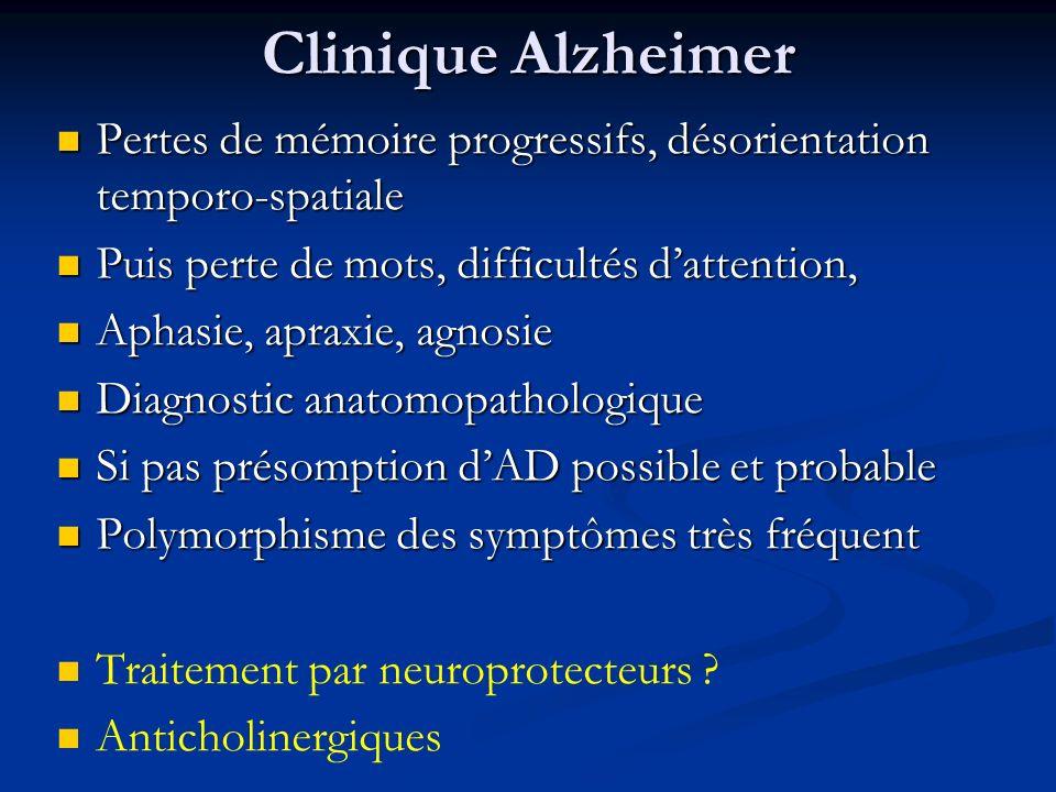 Clinique Alzheimer Pertes de mémoire progressifs, désorientation temporo-spatiale Pertes de mémoire progressifs, désorientation temporo-spatiale Puis
