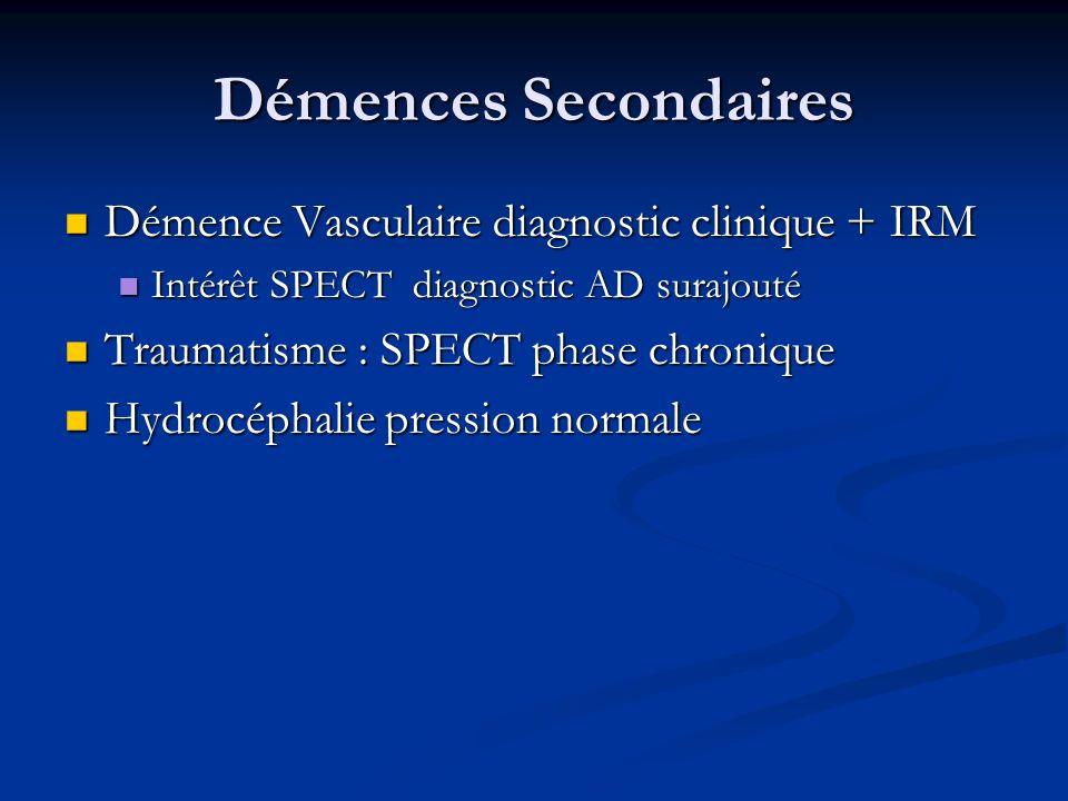 Démences Secondaires Démence Vasculaire diagnostic clinique + IRM Démence Vasculaire diagnostic clinique + IRM Intérêt SPECT diagnostic AD surajouté I