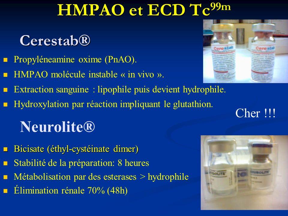 HMPAO et ECD Tc HMPAO et ECD Tc 99m Propyléneamine oxime (PnAO). HMPAO molécule instable « in vivo ». Extraction sanguine : lipophile puis devient hyd