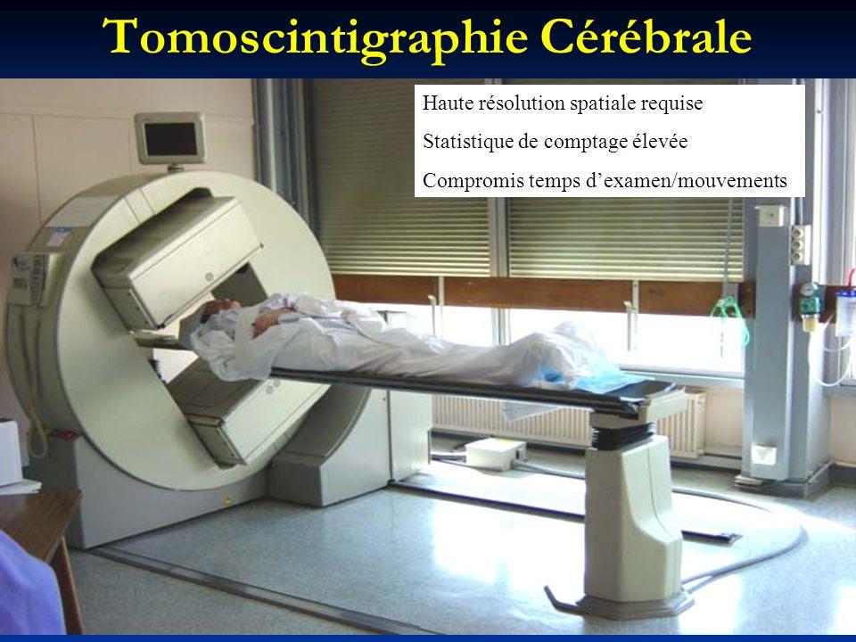 Tomoscintigraphie Cérébrale Haute résolution spatiale requise Statistique de comptage élevée Compromis temps dexamen/mouvements