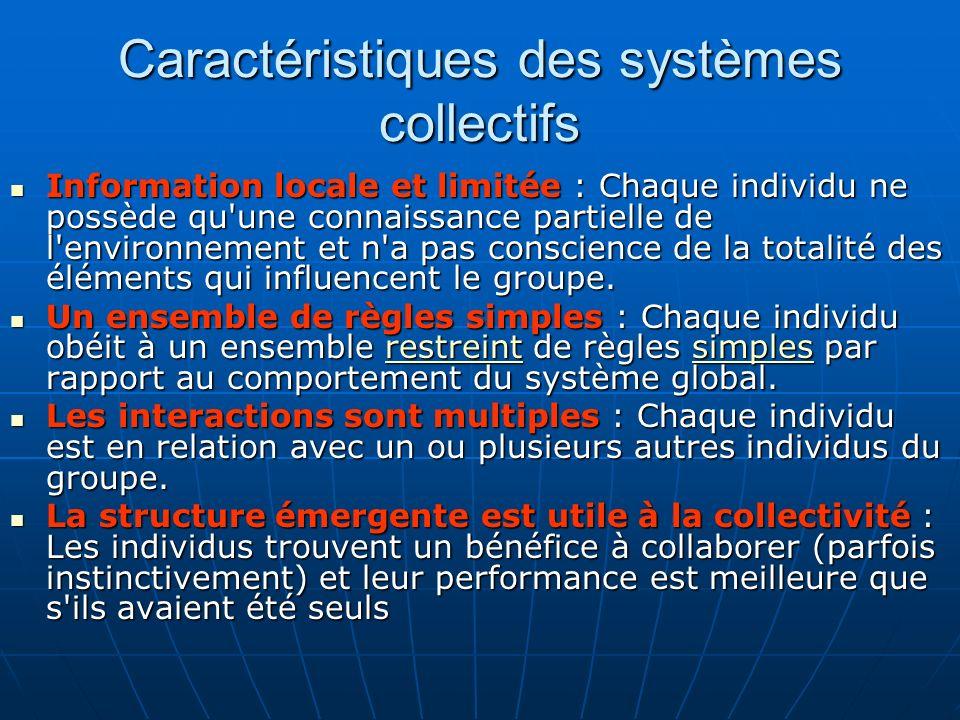 Caractéristiques des systèmes collectifs Information locale et limitée : Chaque individu ne possède qu une connaissance partielle de l environnement et n a pas conscience de la totalité des éléments qui influencent le groupe.