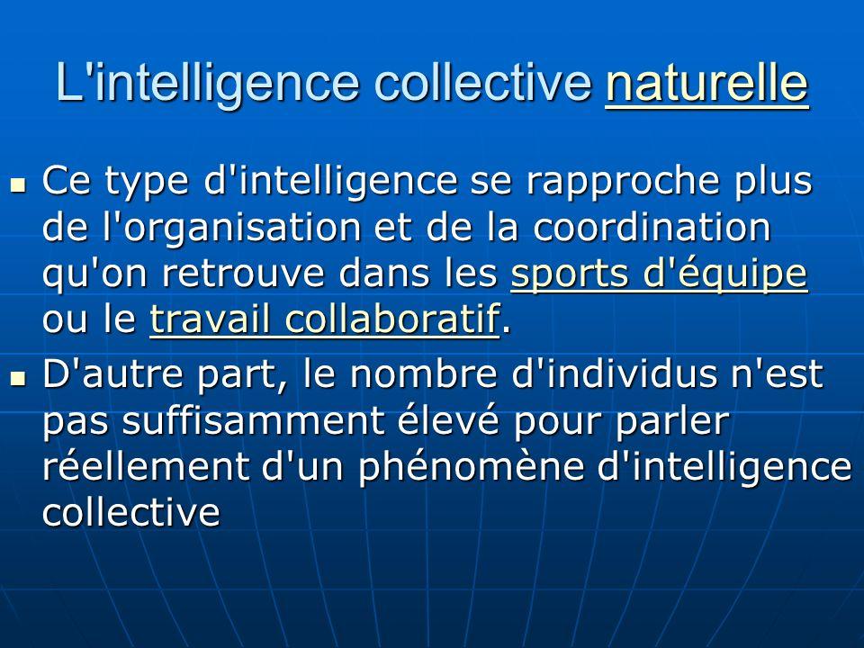 L intelligence collective naturelle naturelle Ce type d intelligence se rapproche plus de l organisation et de la coordination qu on retrouve dans les sports d équipe ou le travail collaboratif.