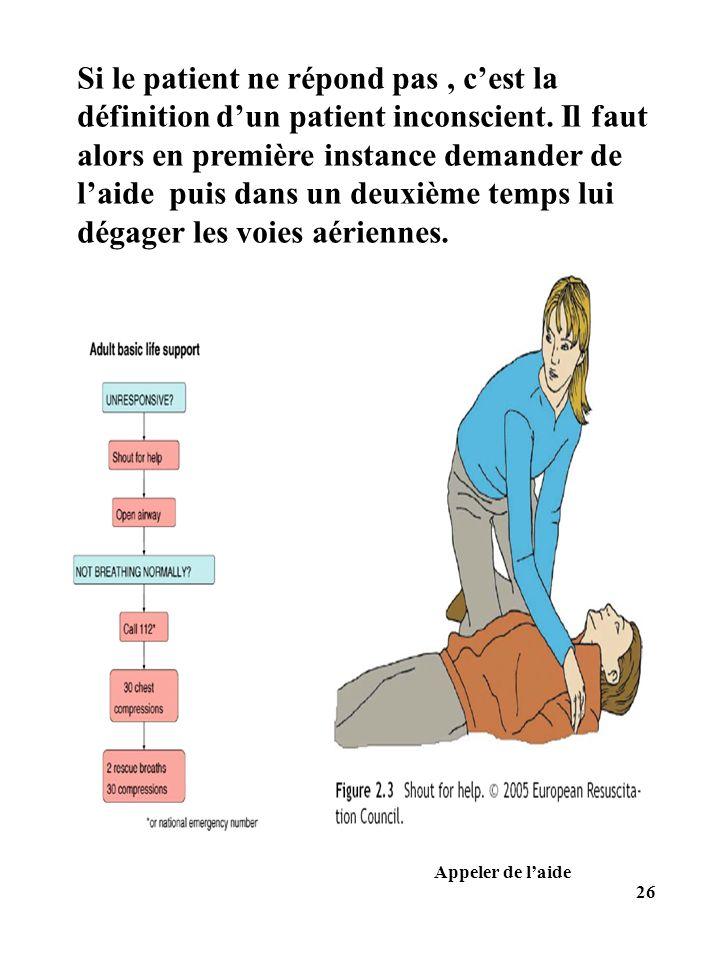 Appeler de laide Si le patient ne répond pas, cest la définition dun patient inconscient. Il faut alors en première instance demander de laide puis da