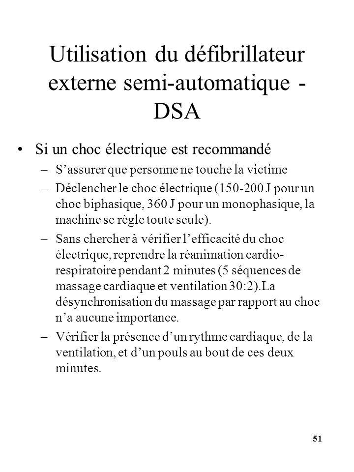 Utilisation du défibrillateur externe semi-automatique - DSA Si un choc électrique est recommandé –Sassurer que personne ne touche la victime –Déclenc