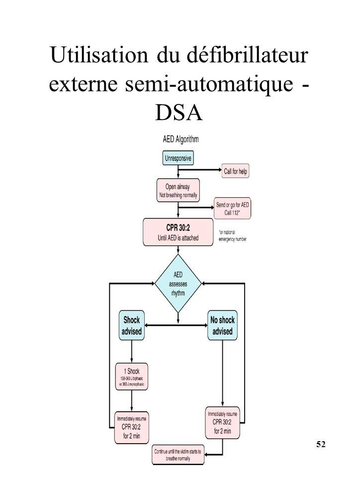Utilisation du défibrillateur externe semi-automatique - DSA 52