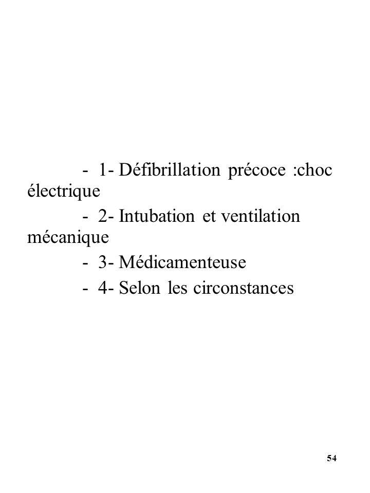 - 1- Défibrillation précoce :choc électrique - 2- Intubation et ventilation mécanique - 3- Médicamenteuse - 4- Selon les circonstances 54