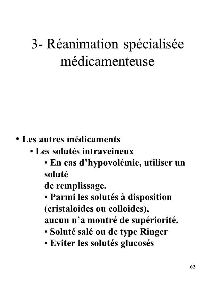 Les autres médicaments Les solutés intraveineux En cas dhypovolémie, utiliser un soluté de remplissage. Parmi les solutés à disposition (cristaloides