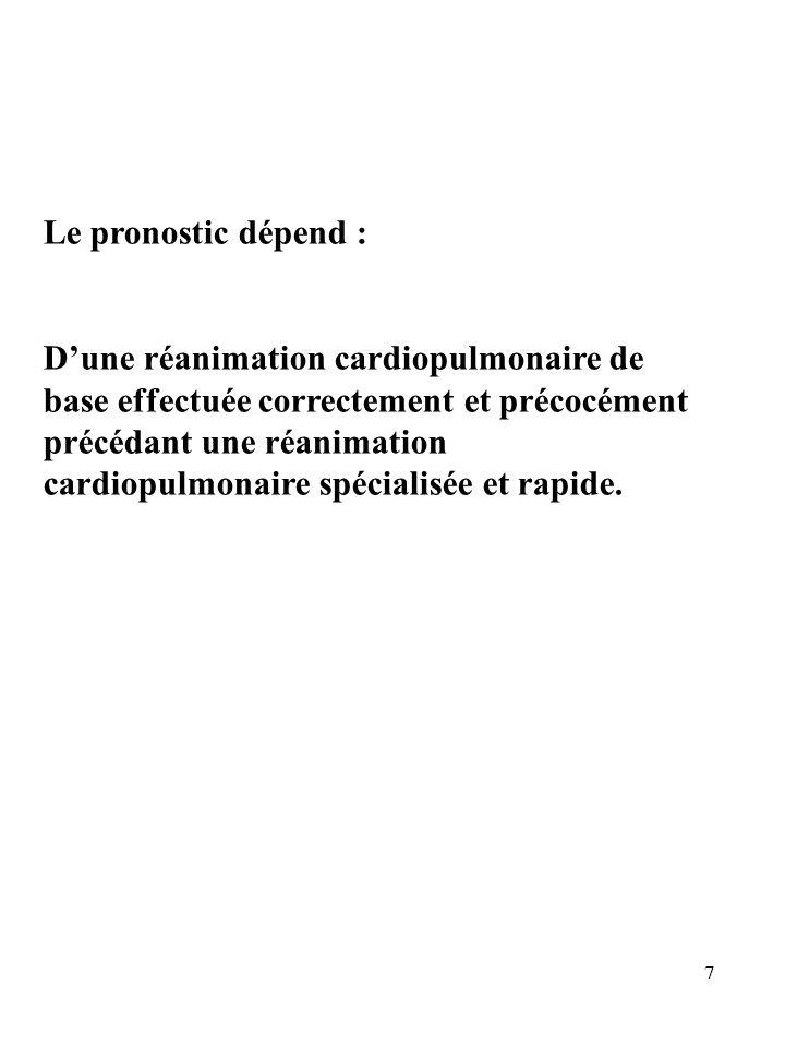 Le pronostic dépend : Dune réanimation cardiopulmonaire de base effectuée correctement et précocément précédant une réanimation cardiopulmonaire spéci