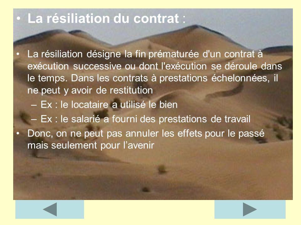 La résiliation du contrat : La résiliation désigne la fin prématurée d'un contrat à exécution successive ou dont l'exécution se déroule dans le temps.