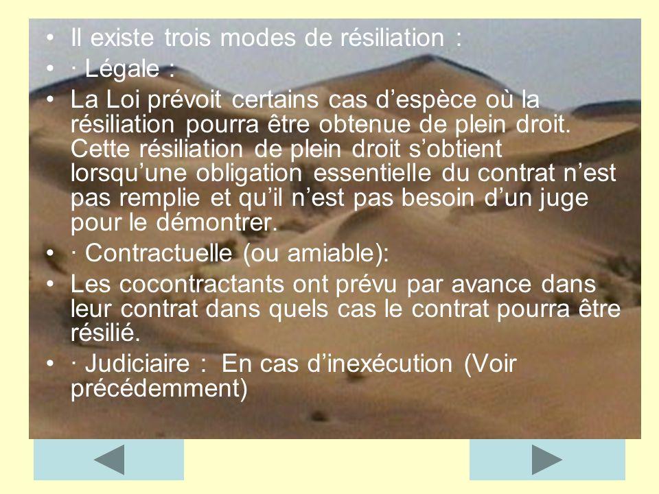 Il existe trois modes de résiliation : · Légale : La Loi prévoit certains cas despèce où la résiliation pourra être obtenue de plein droit. Cette rési