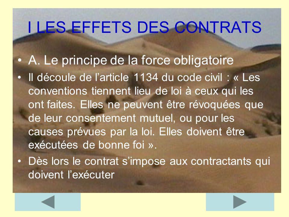 I LES EFFETS DES CONTRATS A. Le principe de la force obligatoire Il découle de larticle 1134 du code civil : « Les conventions tiennent lieu de loi à
