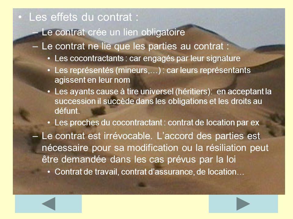 Les effets du contrat : –Le contrat crée un lien obligatoire –Le contrat ne lie que les parties au contrat : Les cocontractants : car engagés par leur
