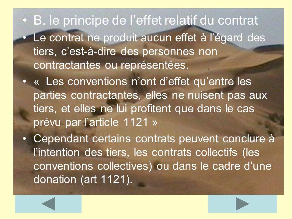 B. le principe de leffet relatif du contrat Le contrat ne produit aucun effet à légard des tiers, cest-à-dire des personnes non contractantes ou repré