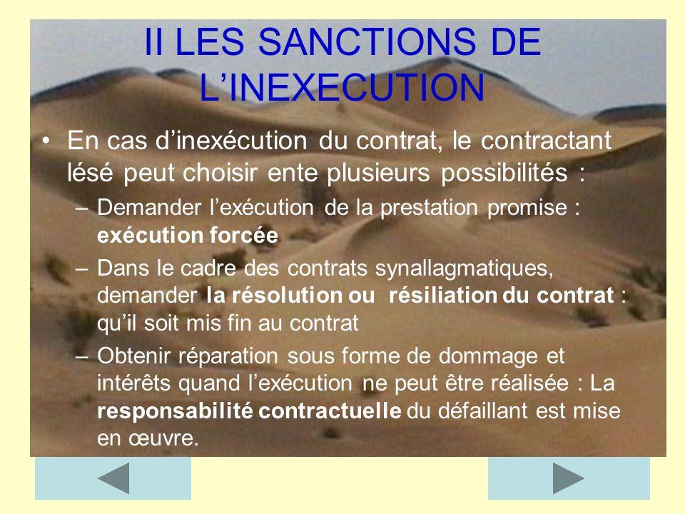 II LES SANCTIONS DE LINEXECUTION En cas dinexécution du contrat, le contractant lésé peut choisir ente plusieurs possibilités : –Demander lexécution d