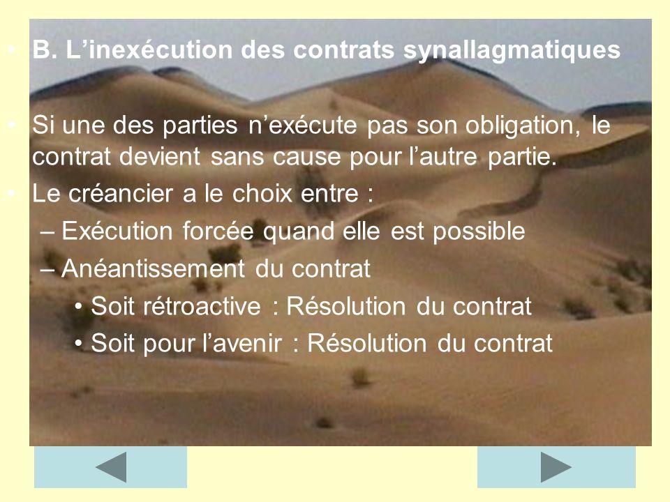 B. Linexécution des contrats synallagmatiques Si une des parties nexécute pas son obligation, le contrat devient sans cause pour lautre partie. Le cré