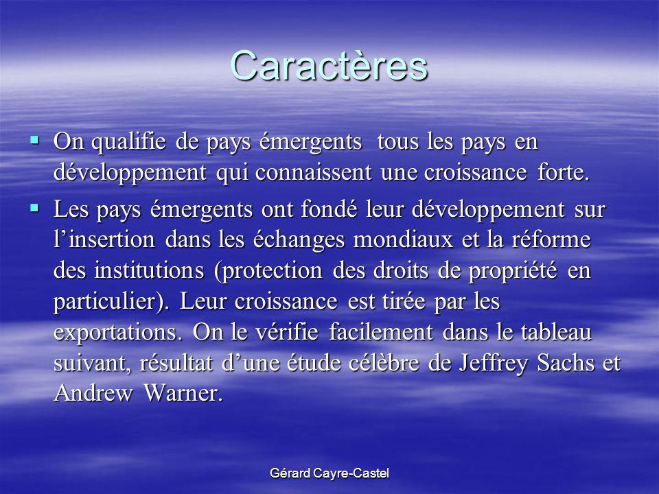 Gérard Cayre-Castel Caractères On qualifie de pays émergents tous les pays en développement qui connaissent une croissance forte. On qualifie de pays