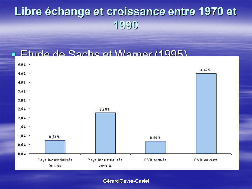 Gérard Cayre-Castel Libre échange et croissance entre 1970 et 1990 Etude de Sachs et Warner (1995) Etude de Sachs et Warner (1995)