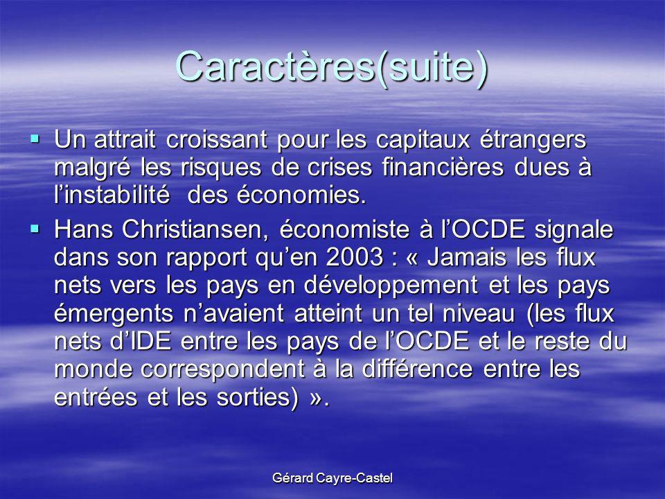 Gérard Cayre-Castel Caractères(suite) Un attrait croissant pour les capitaux étrangers malgré les risques de crises financières dues à linstabilité de