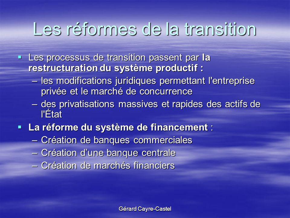 Gérard Cayre-Castel Les réformes de la transition Les processus de transition passent par la restructuration du système productif : Les processus de t