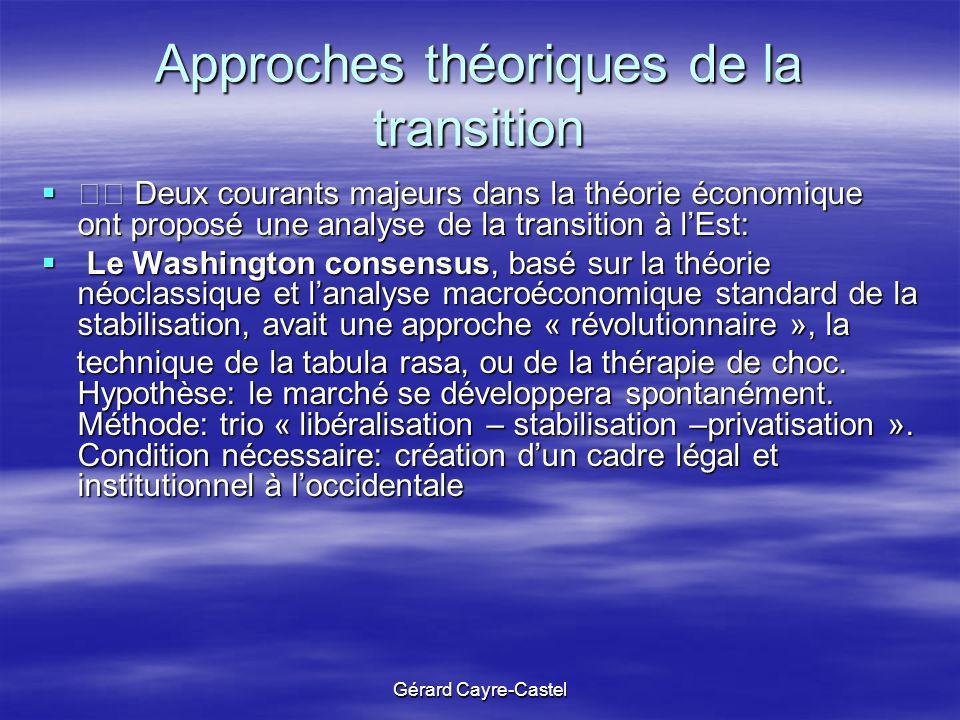 Gérard Cayre-Castel Approches théoriques de la transition Deux courants majeurs dans la théorie économique ont proposé une analyse de la transition à