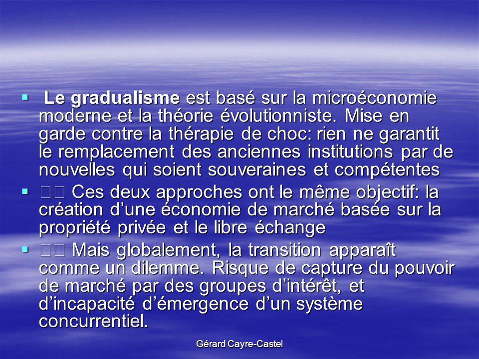 Gérard Cayre-Castel Le gradualisme est basé sur la microéconomie moderne et la théorie évolutionniste. Mise en garde contre la thérapie de choc: rien